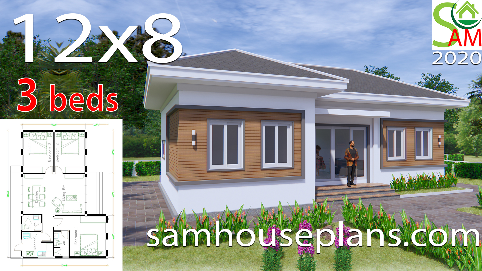 House Plans 12x8 With 3 Bedrooms Hip Roof Samhouseplans