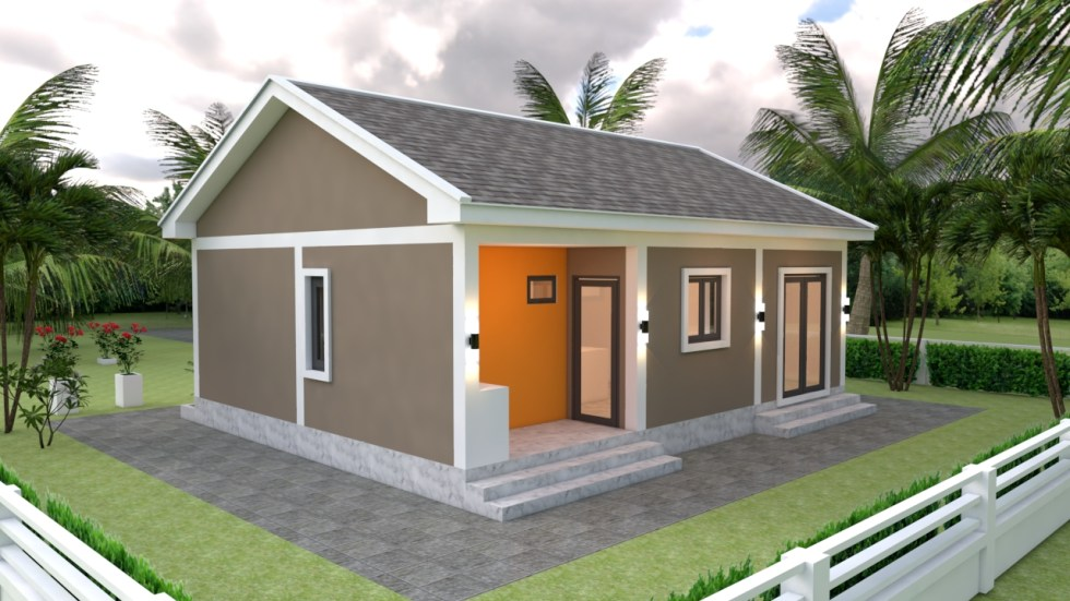 Small House Plans 9x7 with 2 Bedrooms Gable Roof