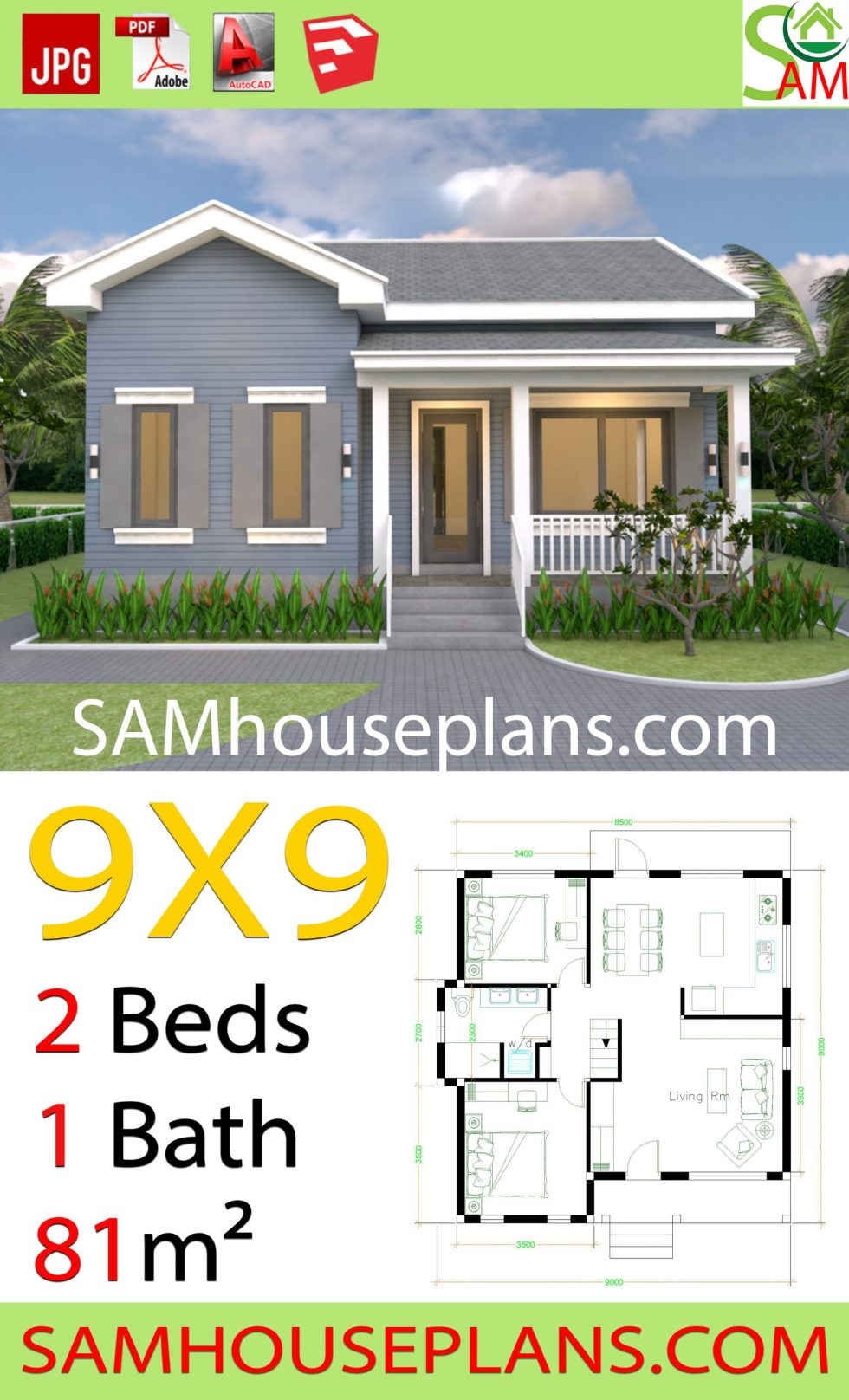 House Plans 9x9 with 2 Bedrooms Gable Roof