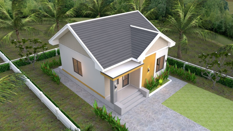Small House plans 7.5x8.5m with 2 beds Gable roof