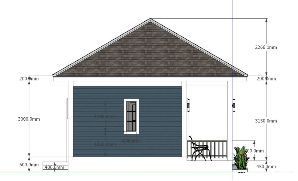 House Plans 8x6.5 with One Bedrooms Hip roof