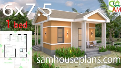 One Bedroom House Plans 6x7.5 with Gable Roof
