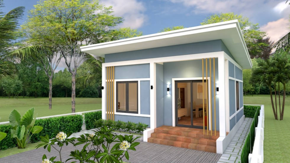 Small House Plans 6x7 with 2 bedrooms Shed Roof