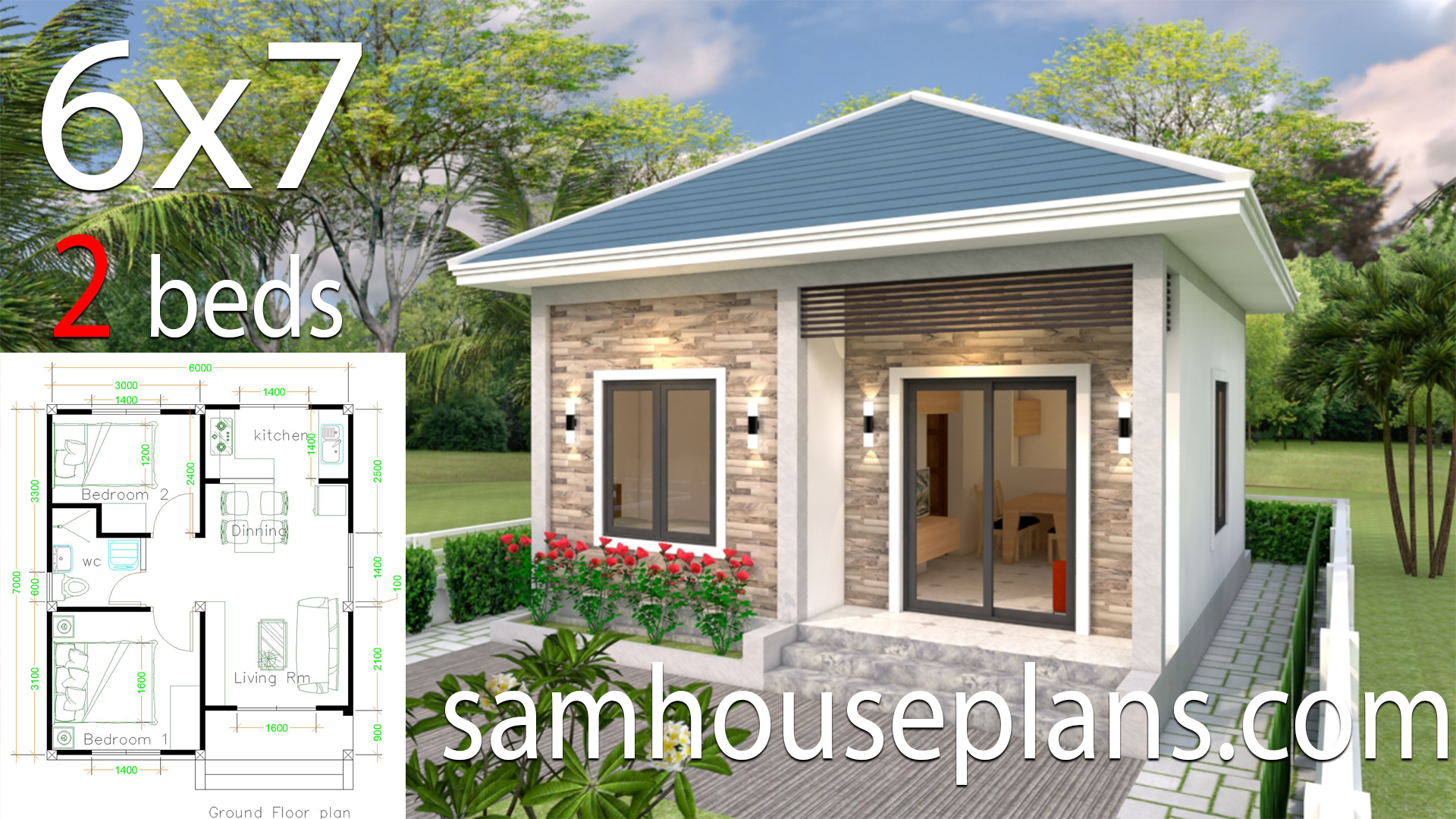Simple House design 6x7 with 2 bedrooms Hip Roof ...