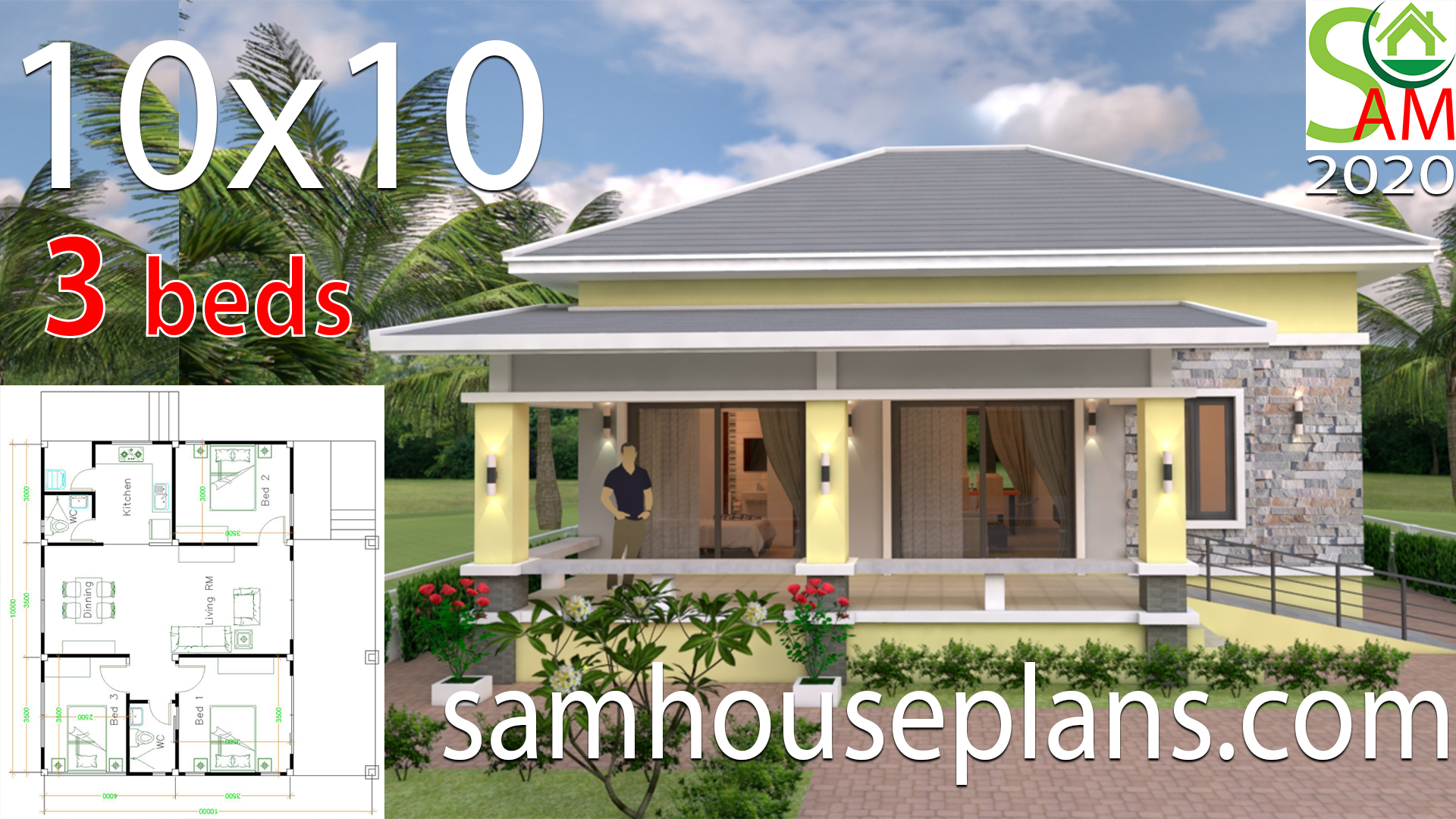 Small House Design 10x10 with 3 Bedrooms Hip Roof - SamHousePlans