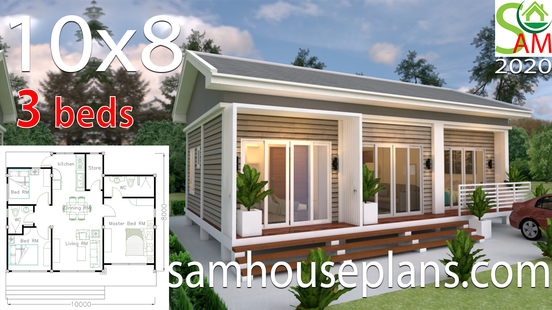 Small House Plans 10x8 with 3 Bedrooms Gable Roof - Sam House Plans