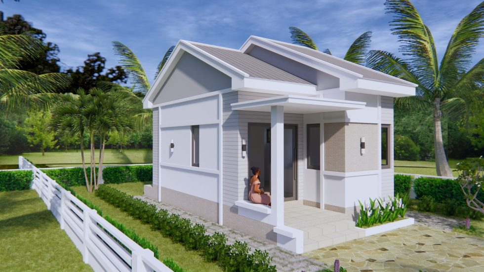 Small House Plans 4.5x7.5 with One Bedroom Gable roof