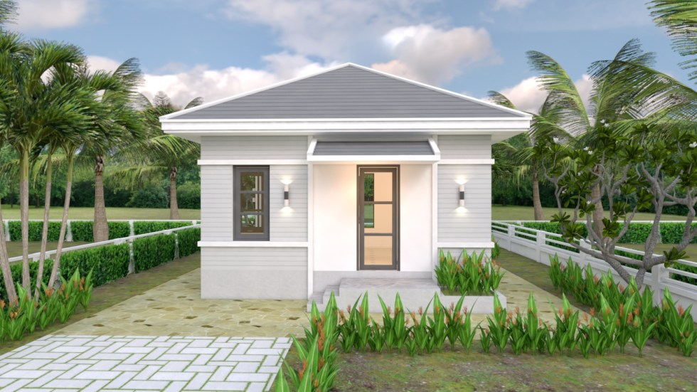 House Plans 6x6 with One Bedroom Hip Roof
