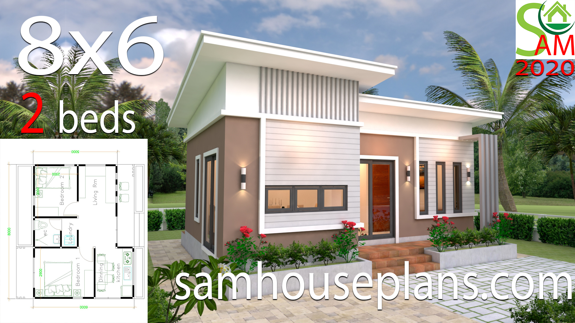 Small House Plans 8x6 With 2 Bedrooms Slope Roof Samhouseplans