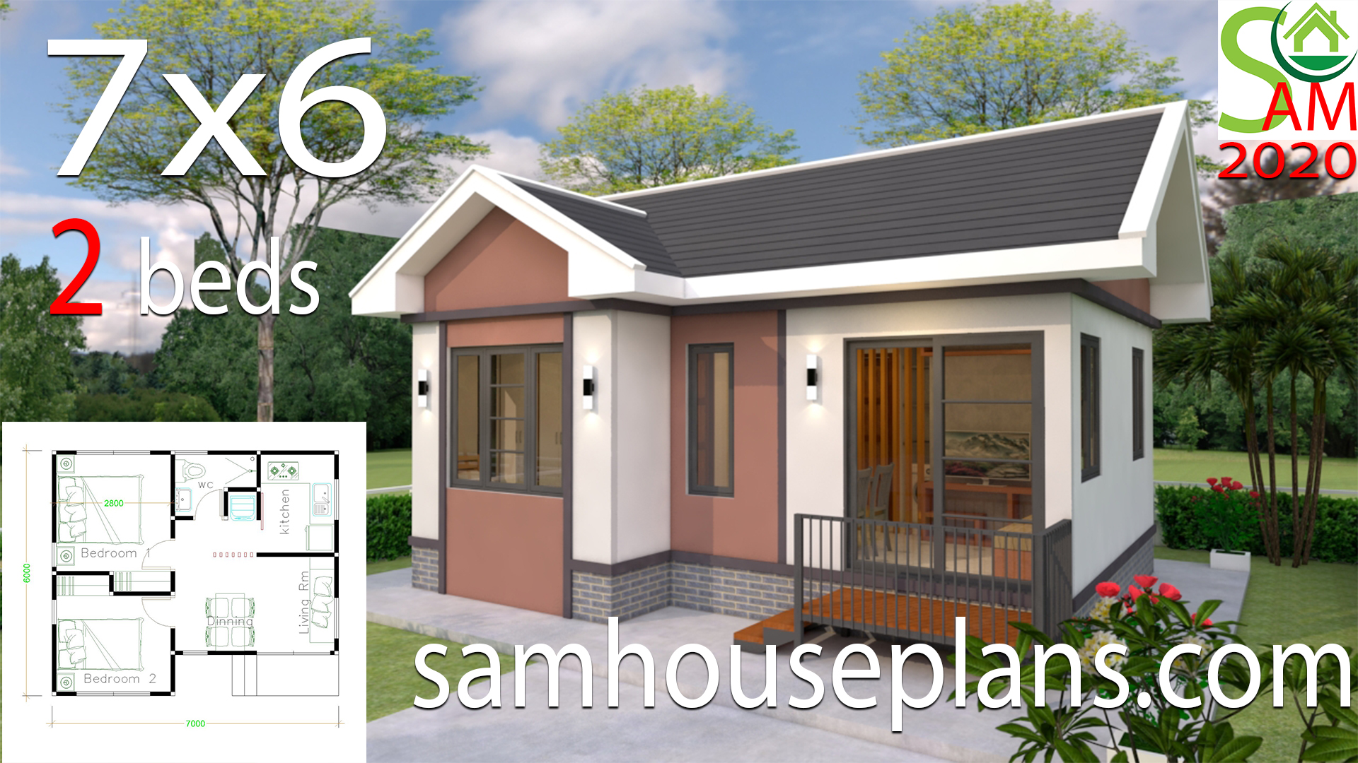 Small House Plans Design 7x6 With 2 Bedrooms Gable Roof Samhouseplans