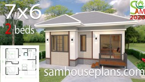 Small House Plans Design 7x6 with 2 Bedrooms Hip Roof