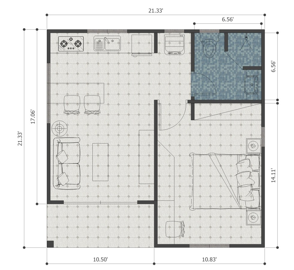 Small House Plans 21x21 Feet 6.5x6.5m One Bedroom