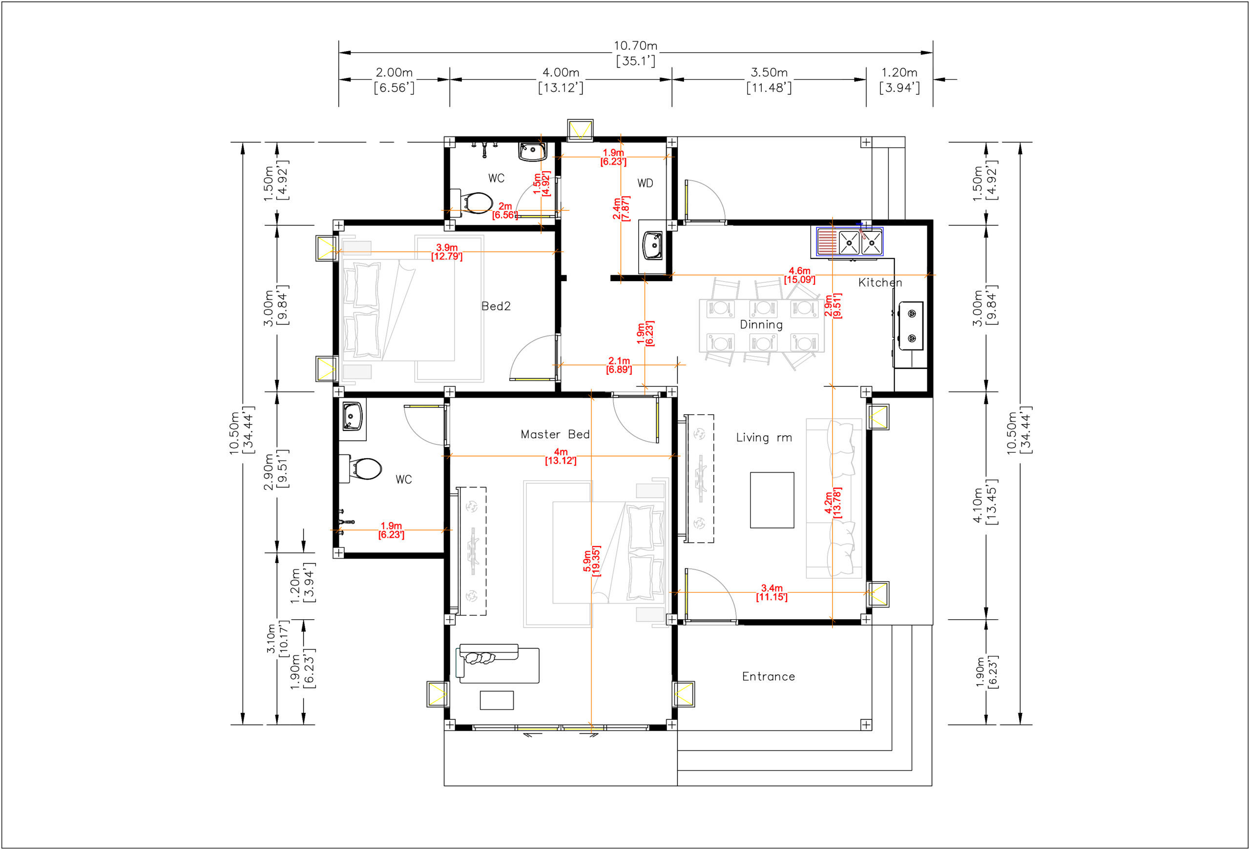House Plans 10.7x10.5m with 2 Bedrooms Flat roof - SamHousePlans