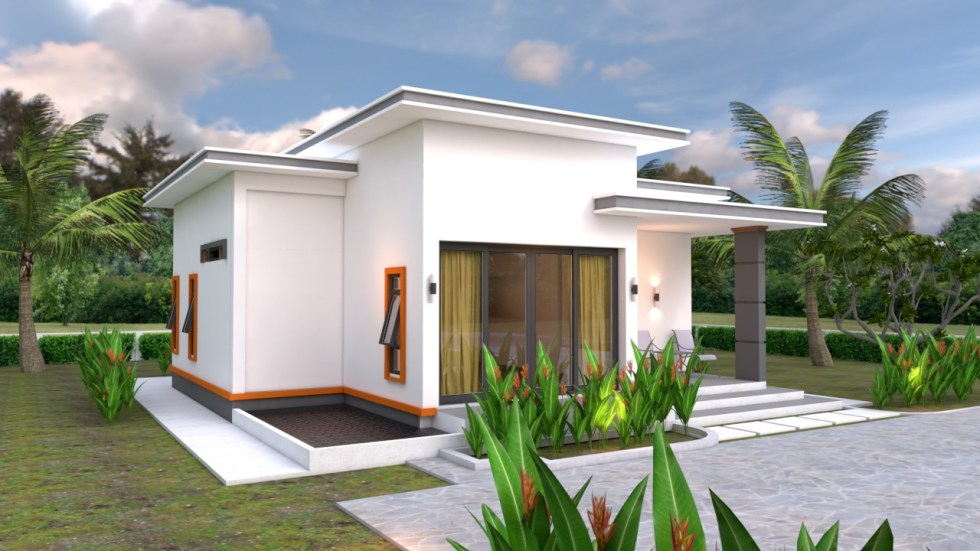Front 3d House Plans 10.7x10.5m with 2 Bedrooms Flat roof