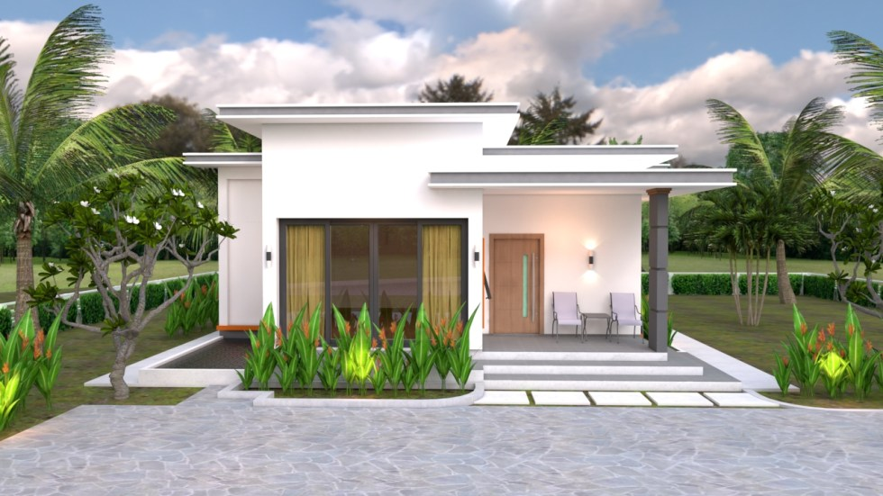 3d view House Plans 10.7x10.5m with 2 Bedrooms Flat roof