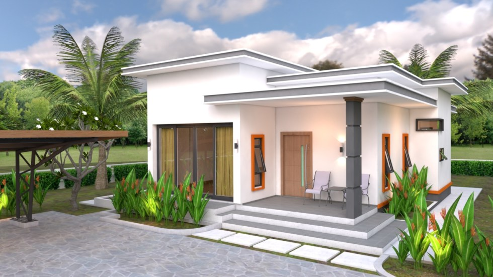 right 3d view House Plans 10.7x10.5m with 2 Bedrooms Flat roof