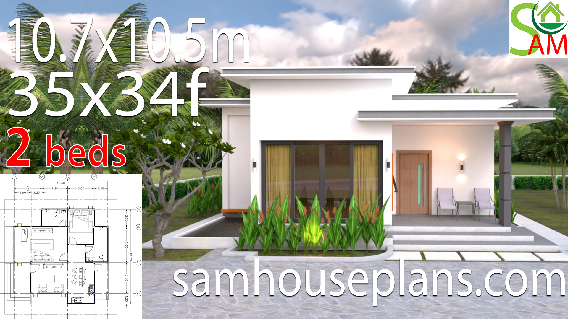 House Plans 10 7x10 5m With 2 Bedrooms Flat Roof Samhouseplans