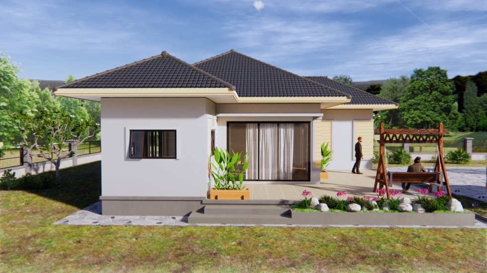 House Plans 11.5x10.5 with 2 Bedrooms Hip roof