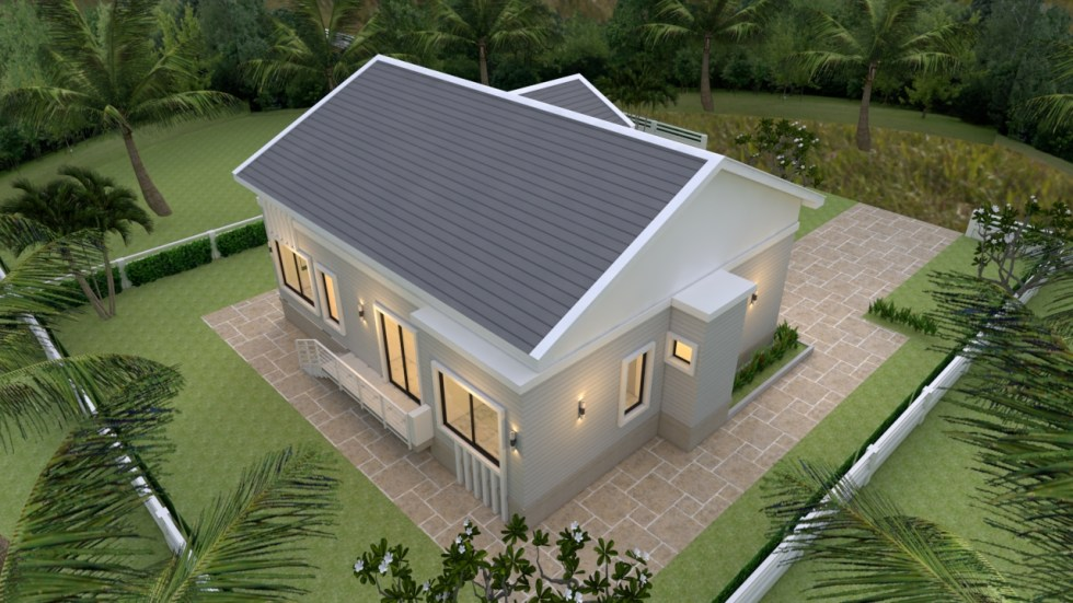 House Plans 12x12 Meter 4 Bedrooms Gable roof 40x40 Feet