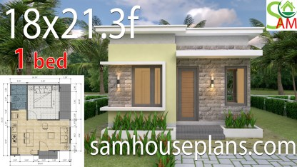 House design Plans 18x21.3 feet with One Bedroom Flat roof
