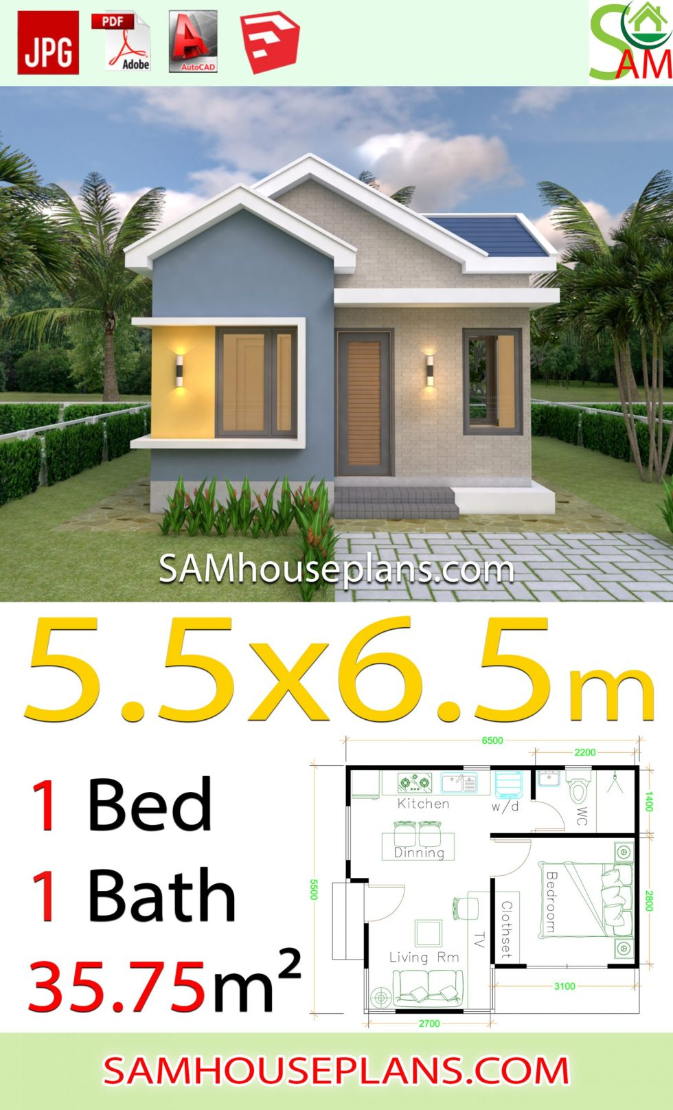 House design Plans 5.5x6.5 with One Bedroom Gable roof