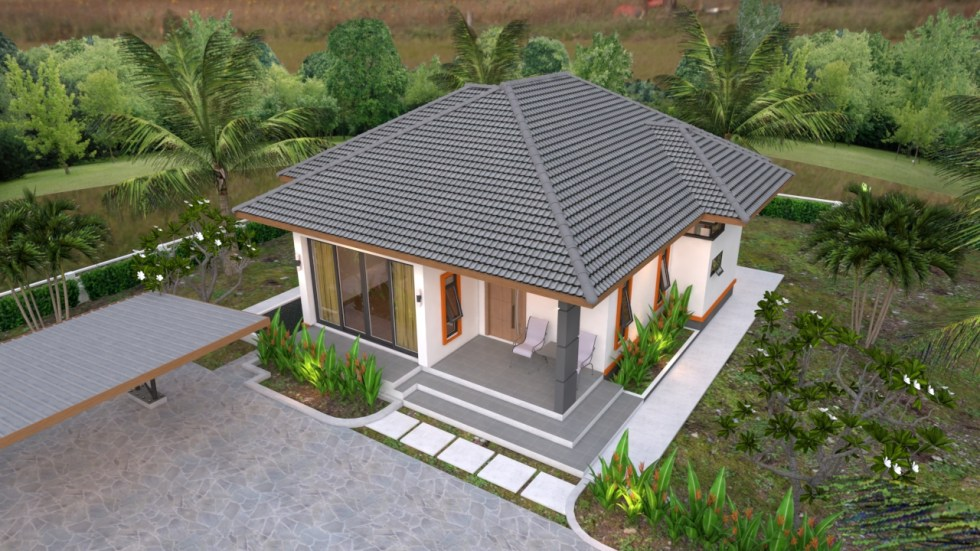 House Plans 10.7x10.5 with 2 Bedrooms Hip roof 35x34 feet roof view