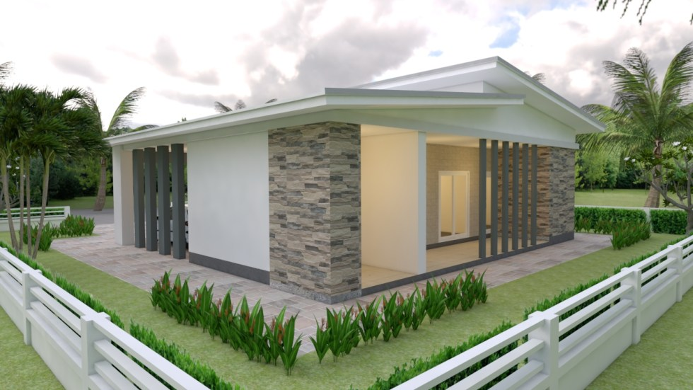 House Plans 12x11 with 3 Bedrooms Shed roof