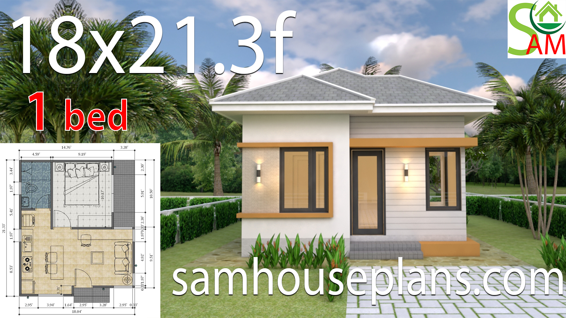 Small House design Plans 18x21.3 feet with One Bedroom Hip ...