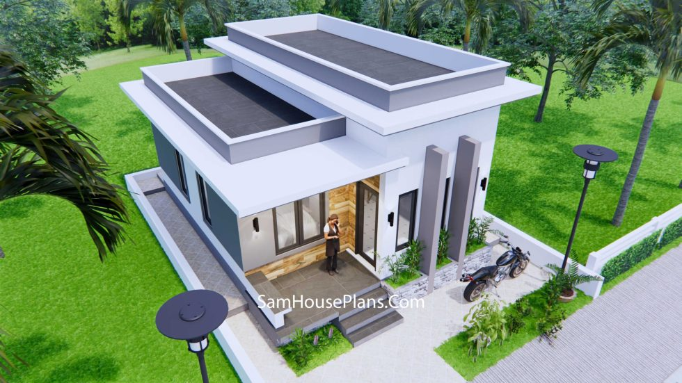 Small House Plans 6x8 Meter 20x27Feet Terrace Roof