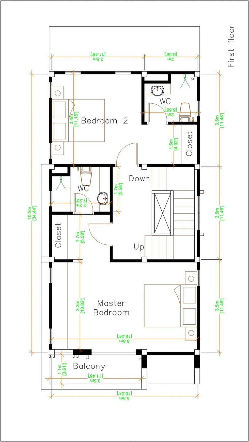 House Plans 5.5x10.5 with 4 bedrooms first floor