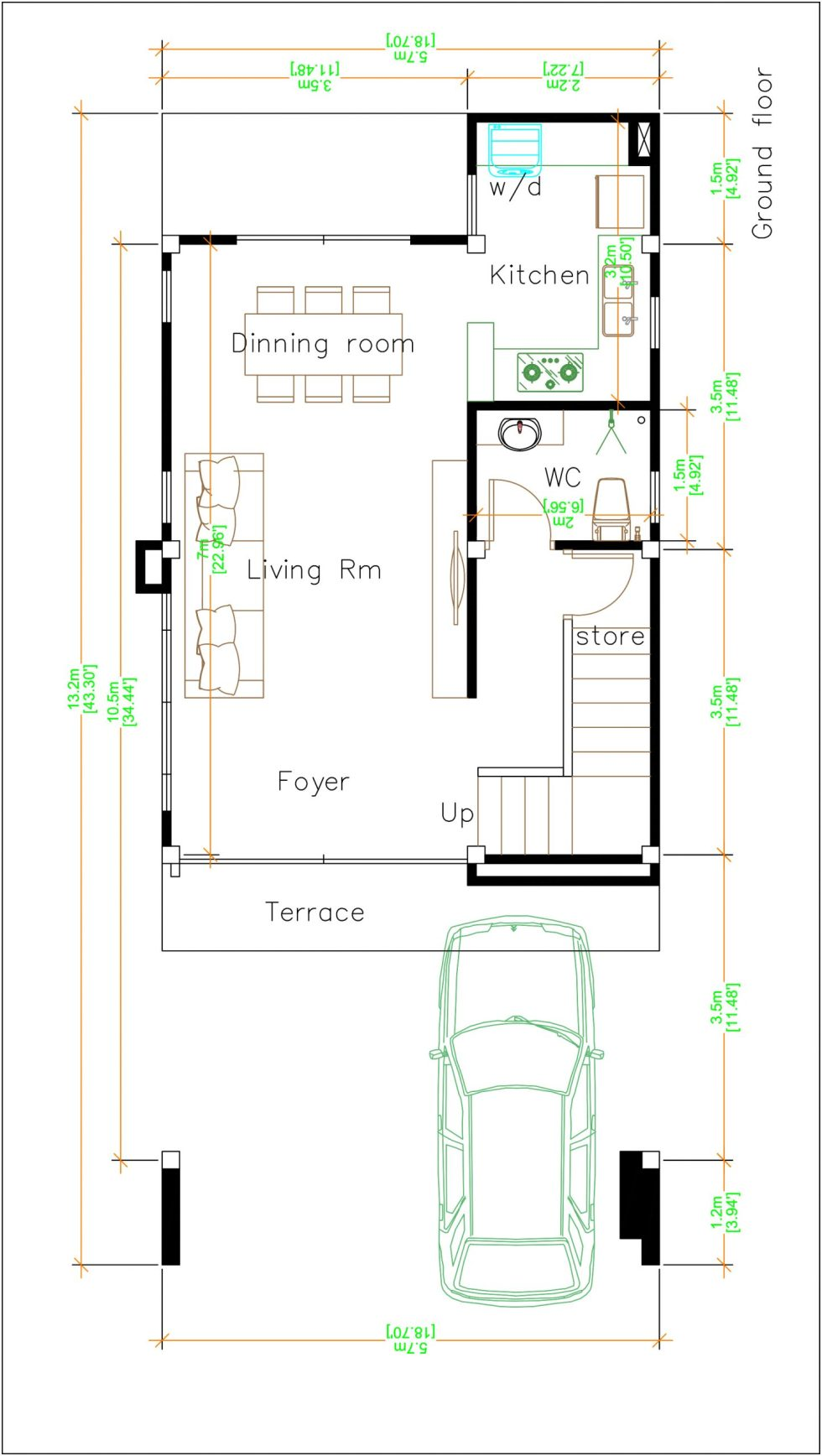 House Plans 5.5x10.5 with 4 bedrooms ground floor