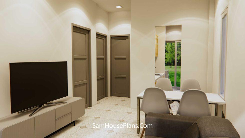 House Design 6x8Meter 20x27Feet Hip Roof Living rm1