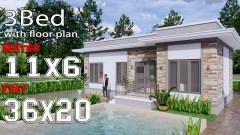 House Design 11x6 Meters 36x20 Feet Terrace Roof