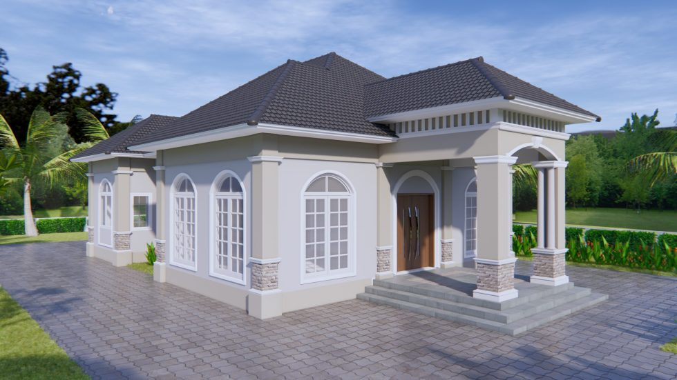 House Plans 33x54 feet 10x16 meter 3 Bedrooms Hip Roof 02
