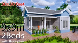 House Plans 9x9 Meters 30x30 Feet 2 Bedrooms Gable Roof