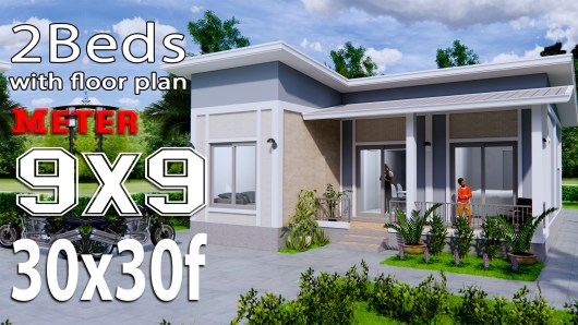 House Plans 9x9 Meters 30x30 Feet Shed Roof
