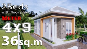 Small house design idea 4x9 Meter 2 Beds Full plans