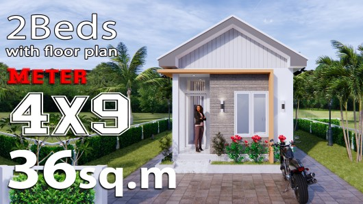 Tiny House Design 4x9 Meters 2 Bathroom Gable Roof