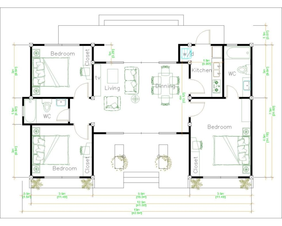 Modern Architecture Homes 13x7.5 Meter 43x25 Feet 3 Beds Layout floor plan