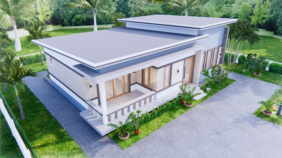 1 Story Modern House 12x12 Meters 40x40 Feet 3 Beds 3