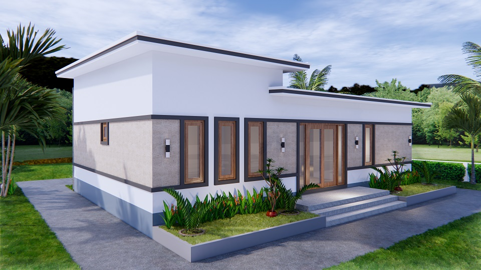 1 Story Modern House 12x12 Meters 40x40 Feet 3 Beds 7