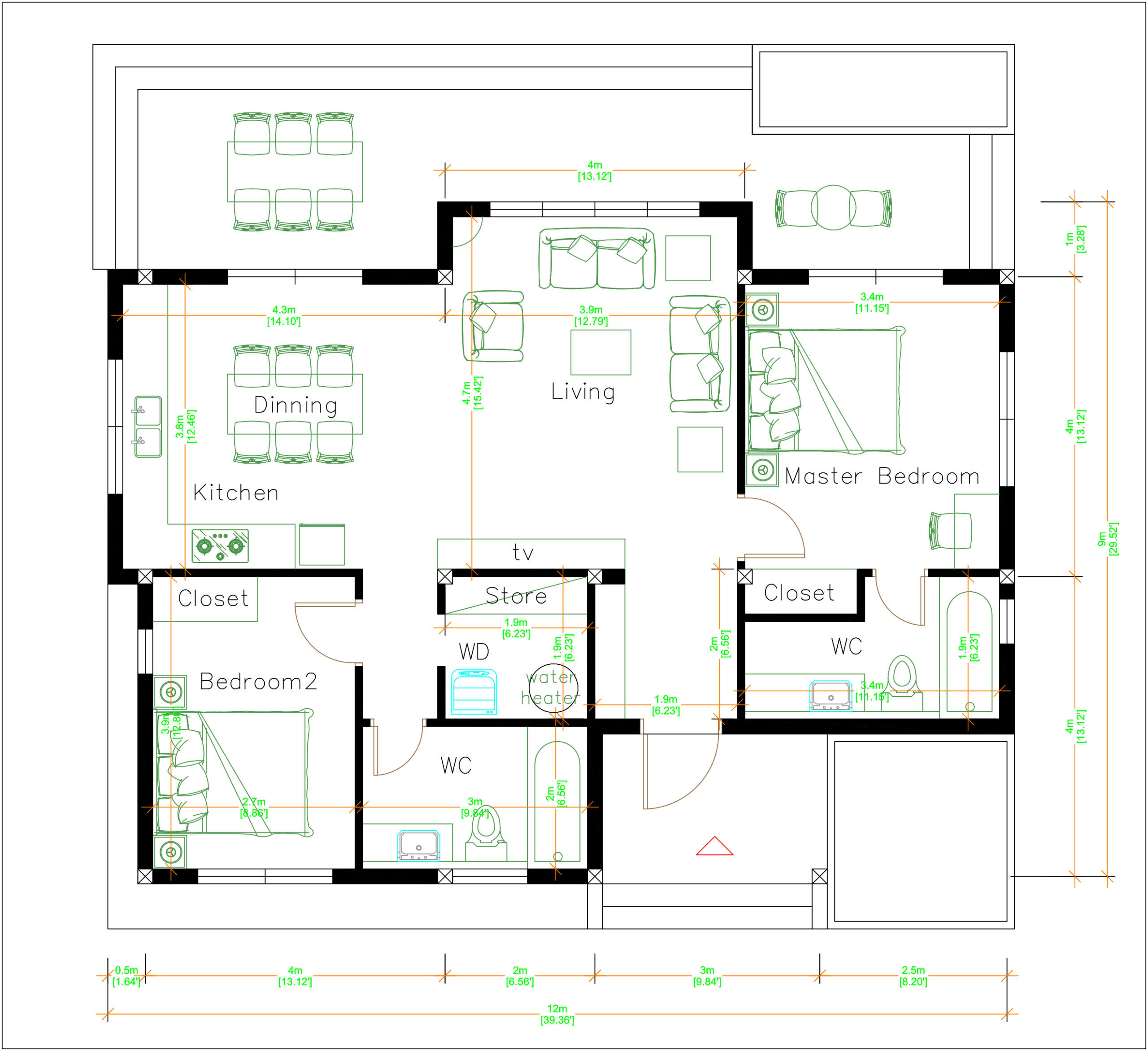 Online House Design 12x9 Meter 40x30 Feet 2 Beds Layout floor plan
