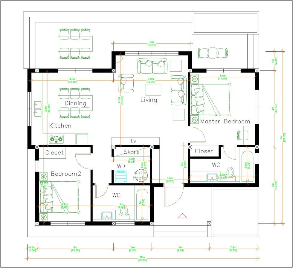3d Floor Plan 12x9 Meter 40x30 Feet 2 Beds House Tv Living room layout