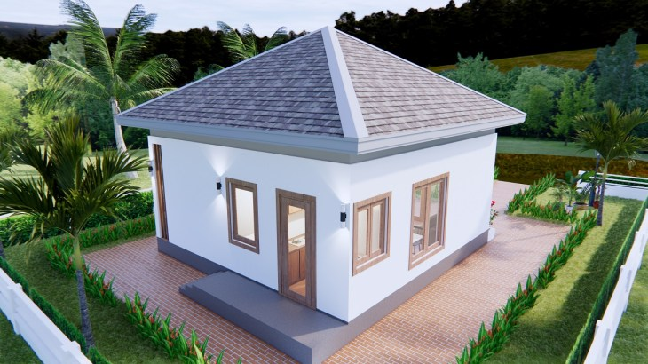 Small House Design 7x7 Meter 23x23 Feet One Bed Front 3d 6