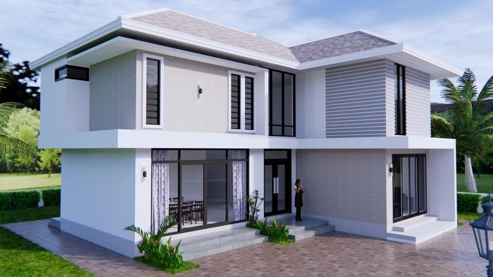 Home Designs 12.4x11 Meter 41x35 Feet 4 Beds 8