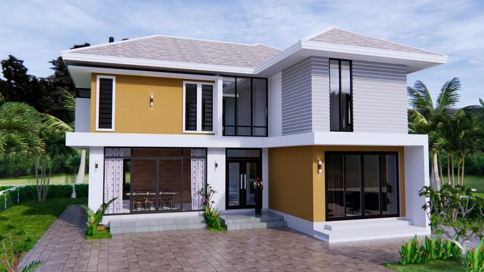 Home Designs 12.4x11 Meter 41x35 Feet 4 Beds 9