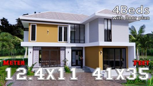 Home Designs 12.4x11 Meter 41x35 Feet 4 Beds