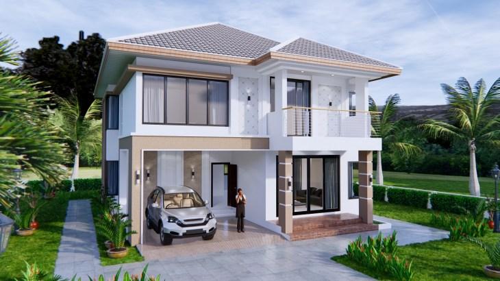 House Design 9x11 Meter 30x36 Feet 4 Beds 1
