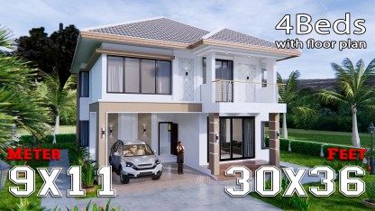 House Design 9x11 Meter 30x36 Feet 4 Beds