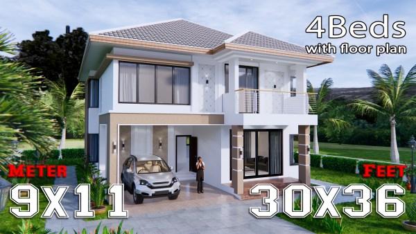 House Design 9x11 Meter 30x36 Feet 4 Beds